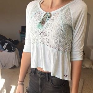 Light blue lace cropped shirt with tie